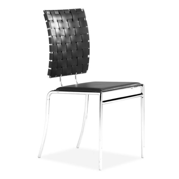 Criss Cross Modern Leather and Chrome Steel Black Dining Chair (Set of 4)