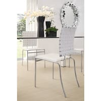 Criss Cross Modern Leather and Steel White Dining Chair (Set of 4)