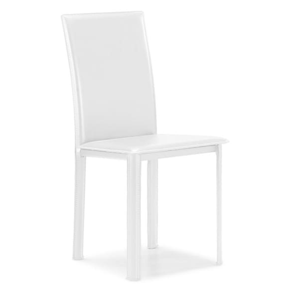 Arcane White Leather and Steel Dining Chair (Set of 4)