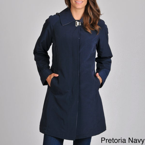 Nautica Women's A-line Raincoat with Removable Hood