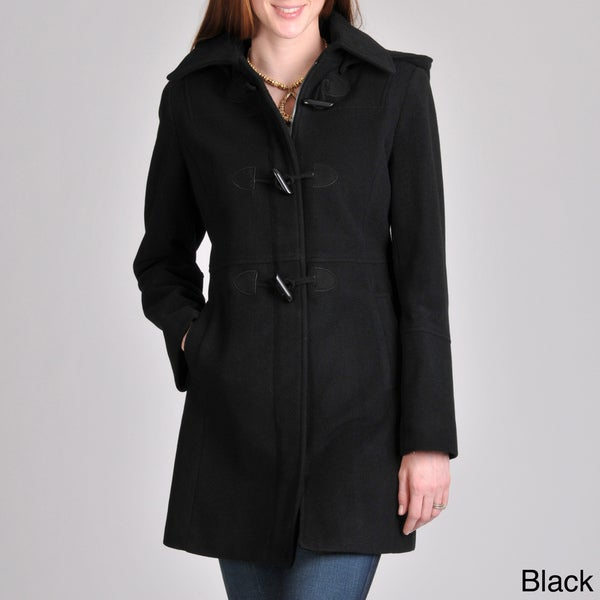 Nautica Women's Toggle/ Zip Wool-blend Coat with Removable Hood