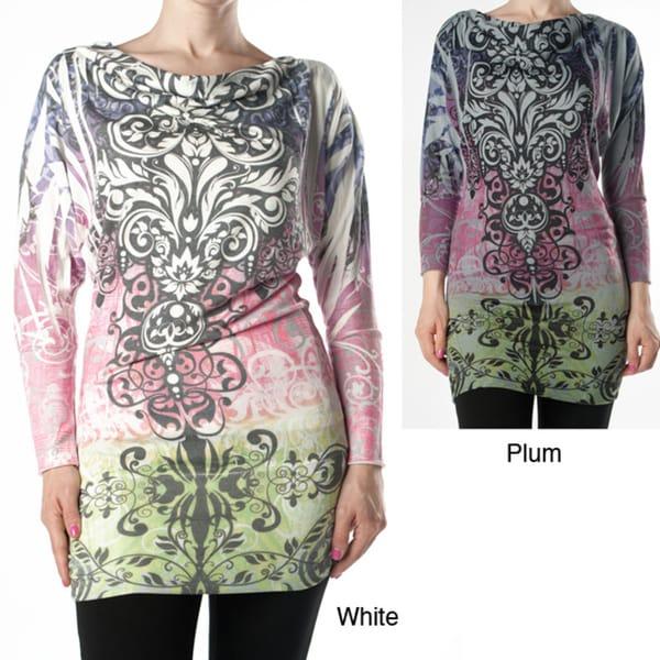 Tabeez Women's Scroll Print Knit Tunic