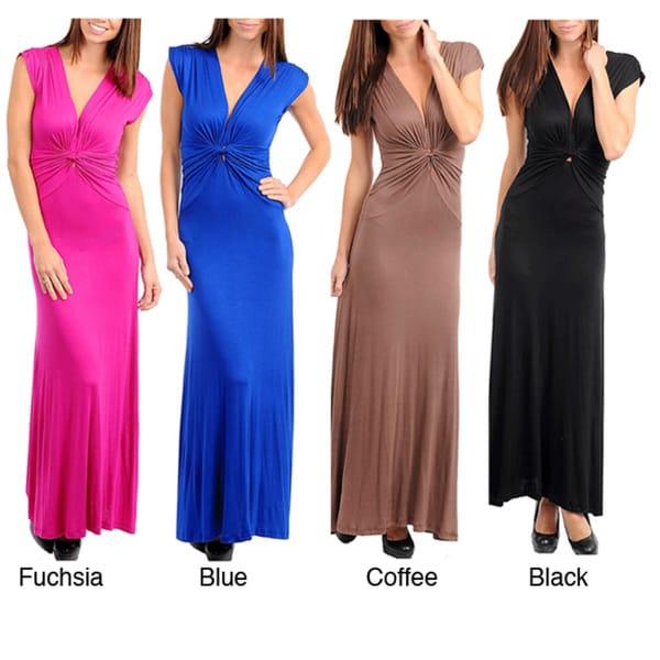Stanzino Women's Deep V-neck Maxi Dress