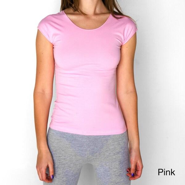 American Apparel Women's Cotton Spandex Jersey Aerobic Top