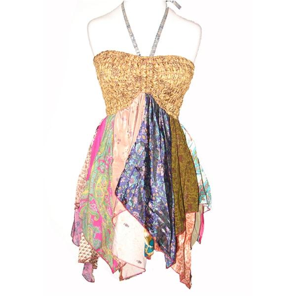 Colorful Handkerchief Silk Tube Dress (Nepal)