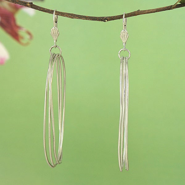 Handcrafted Large Triple Oval Silvertone Metal Drop Earrings (India)