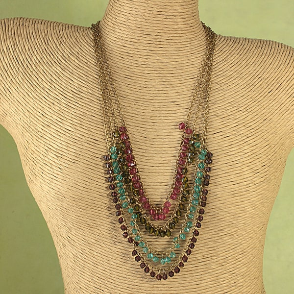 Handcrafted Multicolor Faceted Glass Bead Necklace (India)
