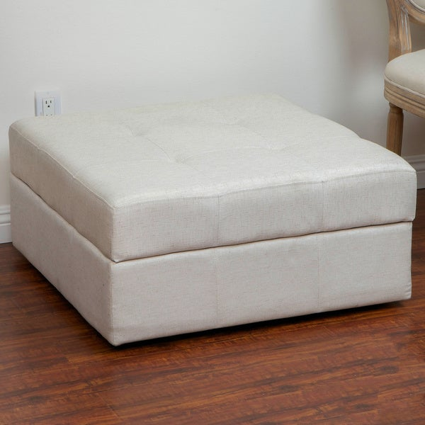Chatsworth Light Cream Fabric Storage Ottoman by Christopher Knight Home