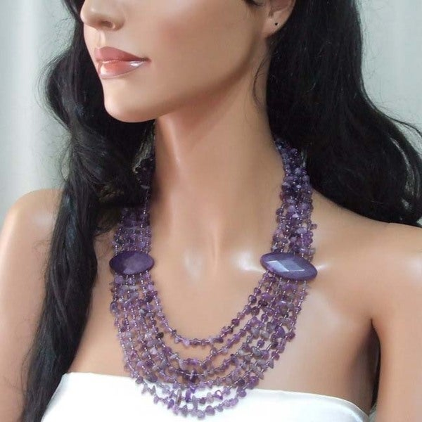 Handmade Gemstone Flowing Waterfall Necklace (Philippines)