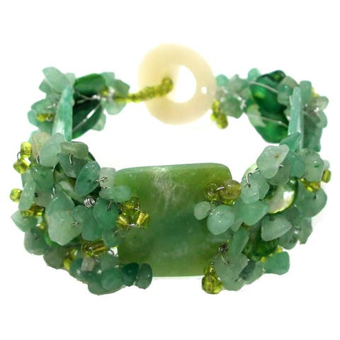 Handmade Exotic Green Indian Jade & Stone & Shell Chunky Bracelet (Philippines)