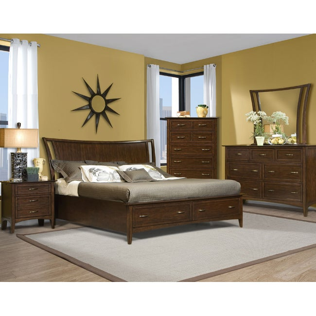 Vaughan Stanford Heights Cherry Queen Storage Bed Set (6 Pieces)