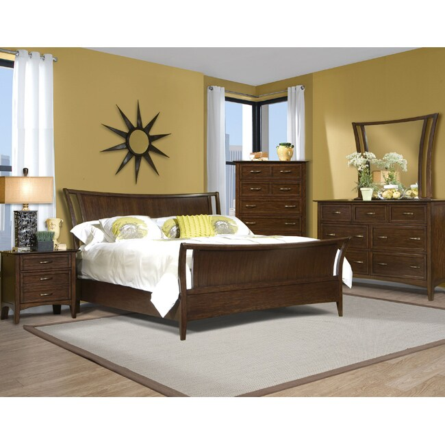 Vaughan Stanford Heights Cherry Queen Sleigh Bed Set (4 Pieces)