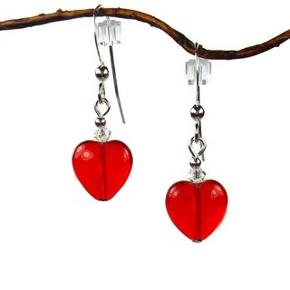 Jewelry by Dawn Red Heart High-polish Sterling Silver Dangle Earrings
