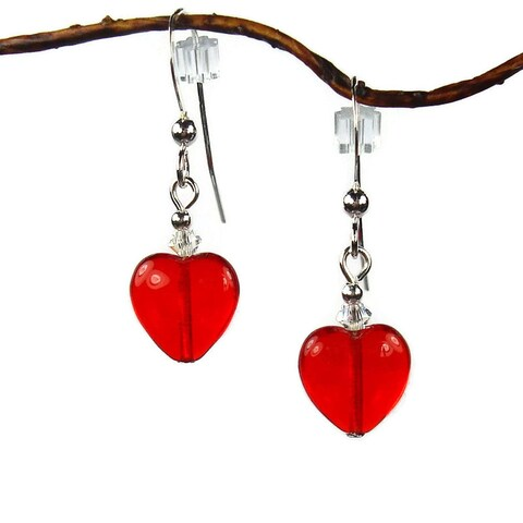 Handmade Jewelry by Dawn Small Red Heart Sterling Silver Dangle Earrings (USA)