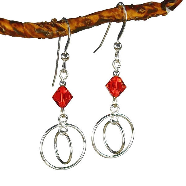 Jewelry by Dawn Double Hoops With Red Sterling Silver Earrings