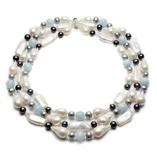 Sterling Silver Multi-colored Freshwater Pearl and Aquamarine 3-row Necklace (9-25mm)