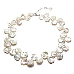 DaVonna Silver White FW Keshi Pearl 18-inch Necklace (14-18 mm)