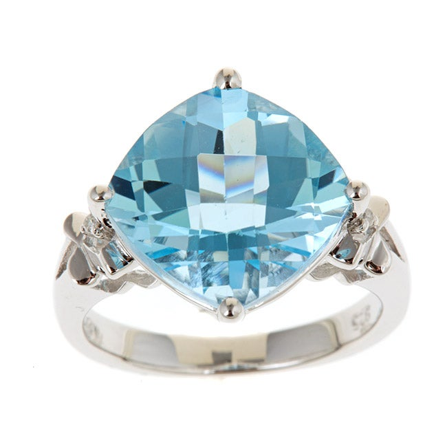 D'Yach Sterling Silver Blue Topaz and Diamond Accent Ring