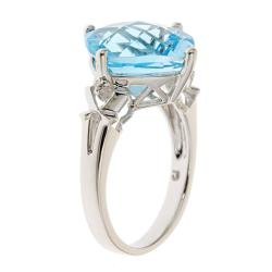D'Yach Sterling Silver Blue Topaz and Diamond Accent Ring - Thumbnail 1