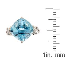 D'Yach Sterling Silver Blue Topaz and Diamond Accent Ring - Thumbnail 2