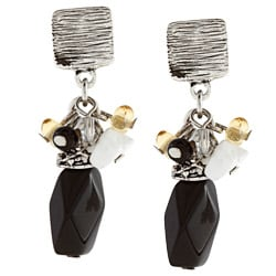 Alexa Starr Silvertone Onyx and White Howlite Cluster Earrings