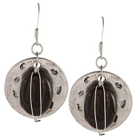 Alexa Starr Silvertone Wire-wrapped Striped Black Agate Earrings