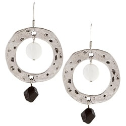 Alexa Starr Silvertone Shell and Striped Black Agate Drop Earrings