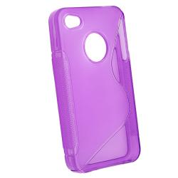 Hot Pink/ Smoke/ Dark Purple TPU Rubber Case for Apple iPhone 4/ 4S - Thumbnail 1