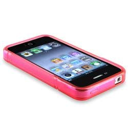 Hot Pink/ Smoke/ Dark Purple TPU Rubber Case for Apple iPhone 4/ 4S - Thumbnail 2