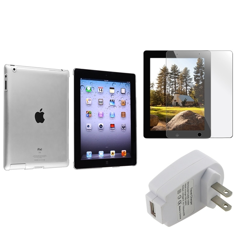 INSTEN Crystal Tablet Case Cover/ Screen Protector/ White Travel Charger for Apple iPad 3/ 4