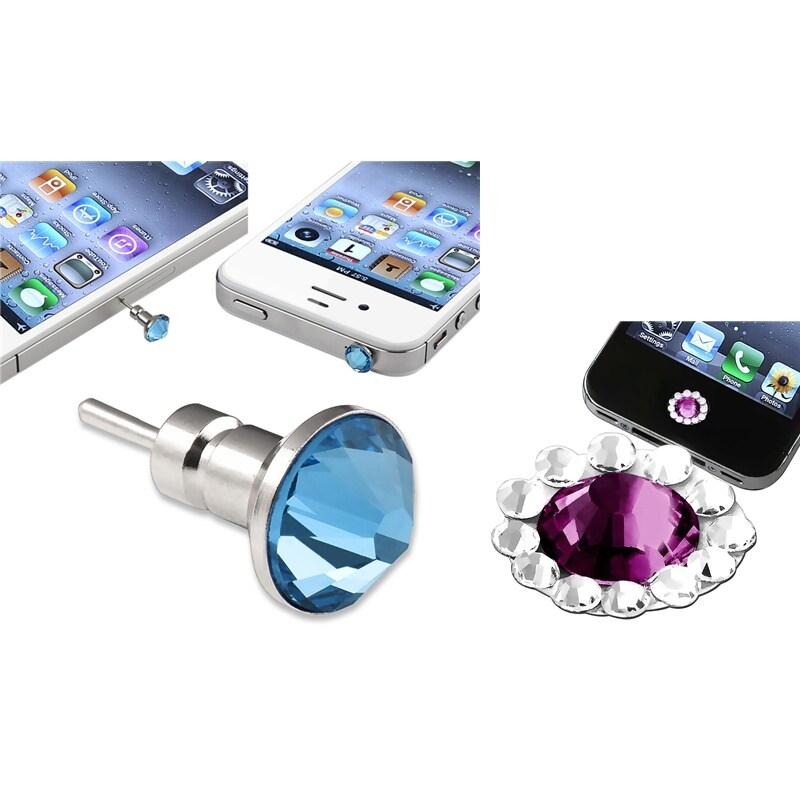 INSTEN Blue Dust Cap/ Purple Button Sticker for Apple iPhone/ iPad/ iPod