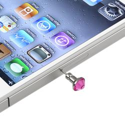 INSTEN Pink Dust Cap/ Purple Button Sticker for Apple iPhone/ iPad/ iPod