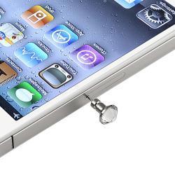 INSTEN Clear Dust Cap/ Purple Button Sticker for Apple iPhone/ iPad/ iPod