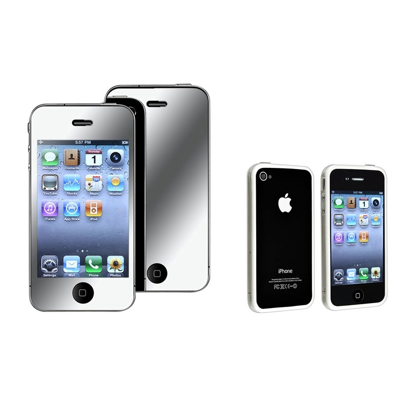 TPU Bumper Case/ Mirror Screen Protector for Apple iPhone 4/ 4S