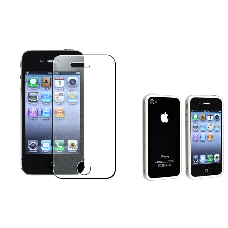 TPU Bumper Case/ Colorful Screen Protector for Apple iPhone 4/ 4S