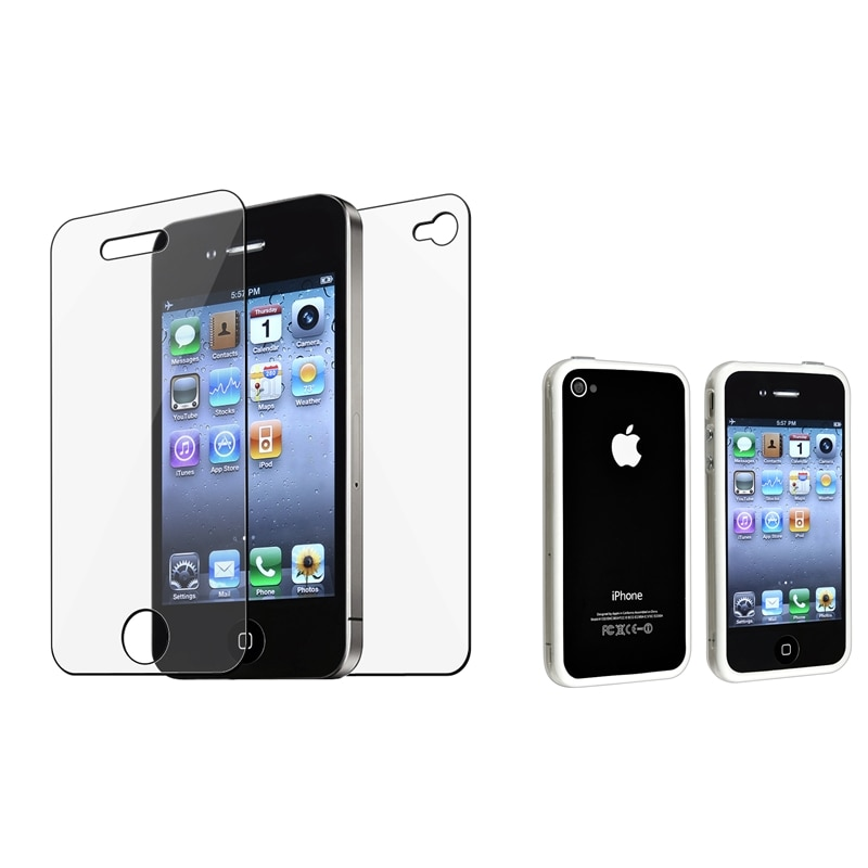 Clear/ White TPU Bumper Case/ Screen Protector for Apple® iPhone 4/ 4S