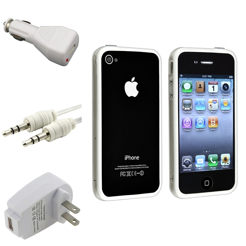 Clear/ White TPU Bumper Case/ Chargers/ Cable for Apple® iPhone 4/ 4S