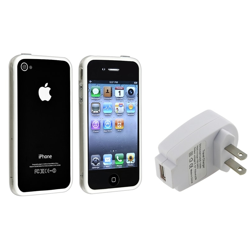 Clear/ White TPU Bumper Case/ White Charger for Apple® iPhone 4/ 4S