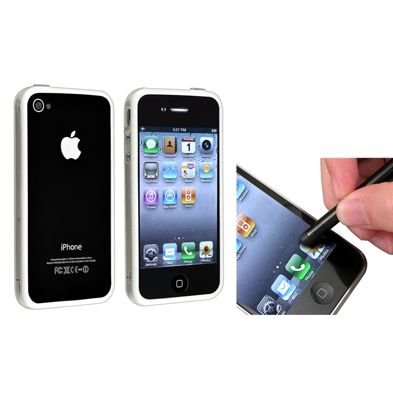 Clear/ White TPU Bumper Case/ Black Stylus for Apple iPhone 4/ 4S