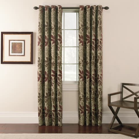 Chenille Leaf Grommet Top 84 inch Curtain Panel Pair - 54 x 84