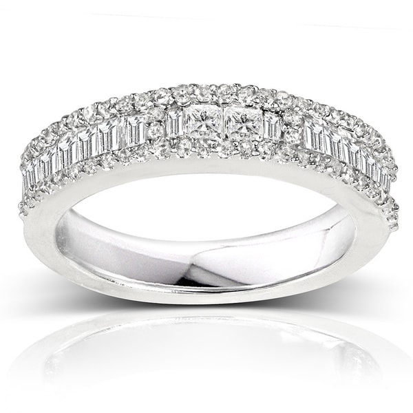 Annello by Kobelli 14k White Gold 4/5ct TDW Baguette Diamond Band (H-I, I2)