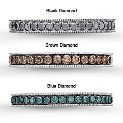 Victoria Kay Sterling Silver Men's 3/8ct TDW Black, Brown or Blue Diamond Semi-eternity Ring