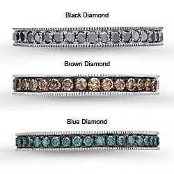 Victoria Kay Sterling Silver Men's 3/8ct TDW Black, Brown or Blue Diamond Semi-eternity Ring (Option: Brown)