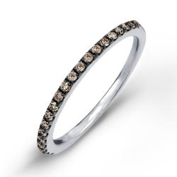 Victoria Kay Sterling Silver 1/5ct TDW Brown Diamond Pave Stackable Band - Thumbnail 1