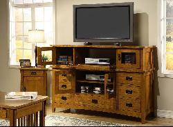 Mission Solid Oak 42-inch Plasma Console with Hutch - Thumbnail 1