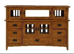 Mission Solid Oak 42-inch Plasma Console with Hutch - Thumbnail 2