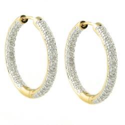 Beverly Hills Charm 14k Yellow Gold 1ct TDW Diamond Hoop Earrings (H-I, I1-I2)