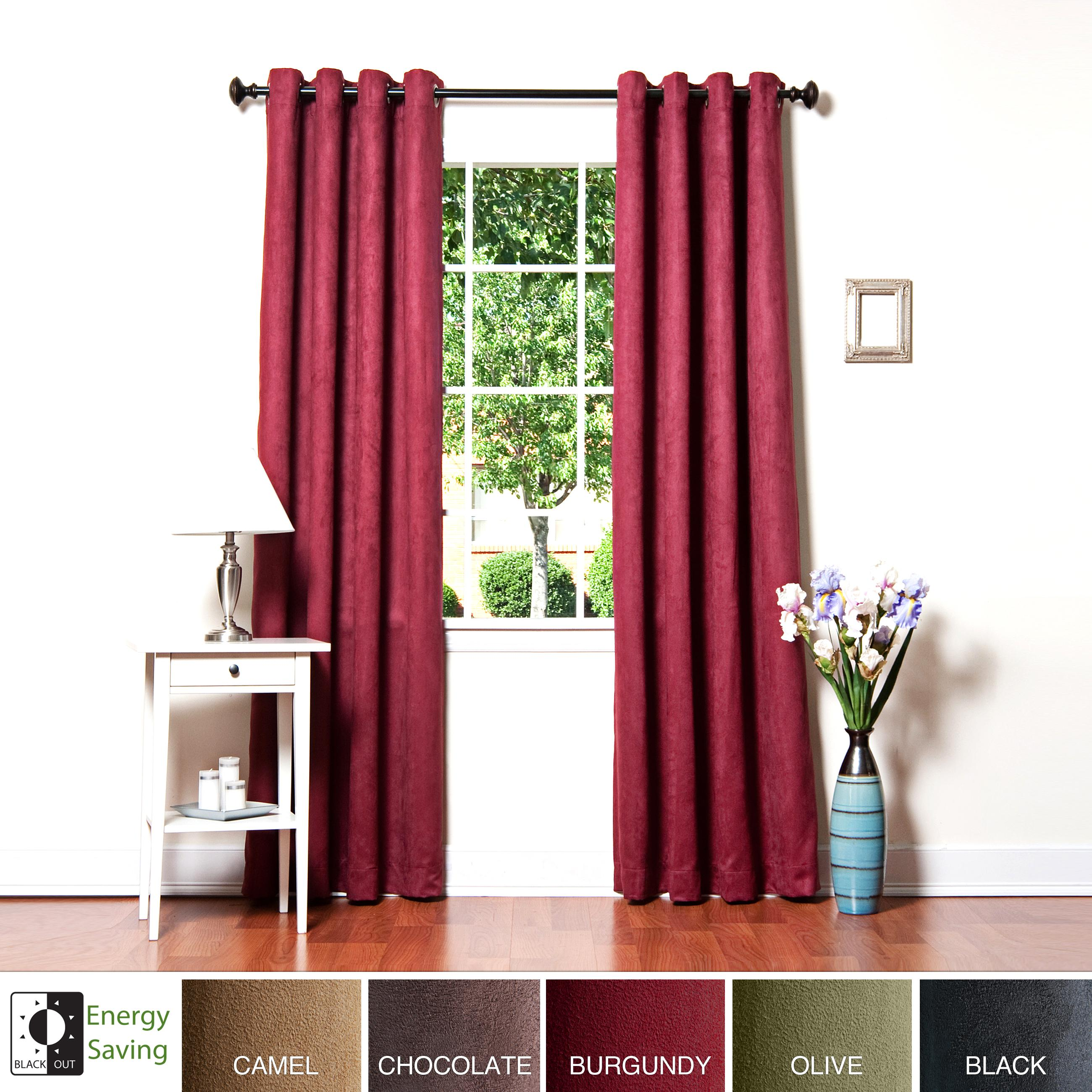 Aurora Home Faux Suede Grommet 95-inch Insulated Blackout Curtain Panel Pair