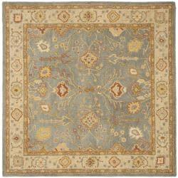 Safavieh Handmade Oushak Slate Blue/ Ivory Wool Rug (6u0027 Square)