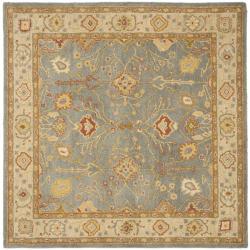 Safavieh Handmade Oushak Slate Blue/ Ivory Wool Rug (8' Square)